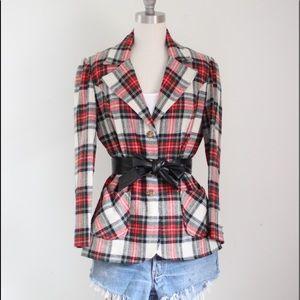 Vtg Wool Tartan Plaid Blazer Jacket Dress M/L